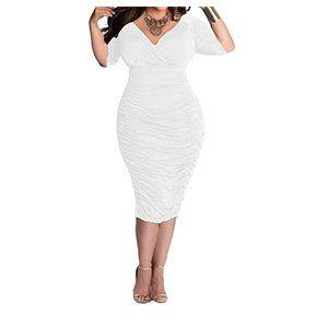 Womens Plus Size Deep V Neck Wrap Bodycon Dress